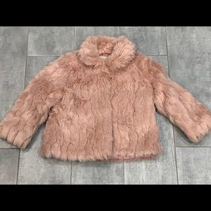 NWOT Zara Baby Girl PINK FAUX FUR JACKET 18-24